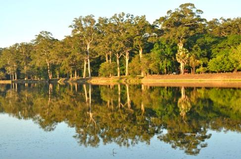 The pond surrounding Angkor Wat