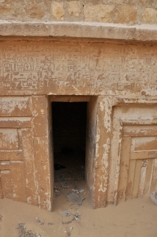 Tomb around Djoser Pyramid with hieroglyphics