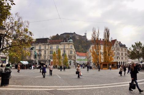 Preseren Square with Ljubljana Castle (1)